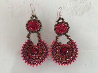 Czech Bead Crystal Red Bronze Drop Dangle EARRINGS Boho Tribal Gypsy