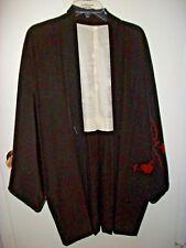 Authentic Ceremonial Japanese Kimono Black Silk Reversible Unfinished-Basting