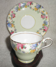 Vintage Aynsley Tea Cup & Saucer England Bone China Green Floral Colorful