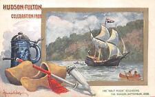 HUDSON FULTON CELEBRATION EXPO HALF MOON SHIP BERNHARDT WALL SIGNED POSTCARD