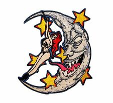 Moon & Lady Embroidered Iron On Biker Applique Patch