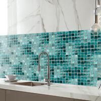 Bathroom Kitchen Removable Mosaic Tile Sticker Wall Paper Art Decor -lake blue