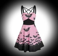 New Pink & Black Gothic Bat Print Pentagram Fit & Flare Dress size 3XL 16 18 20