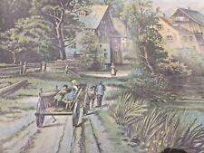 Hallen & Weiner New York Original Chromolithograph Print Amish Family Wagon ❤️j8