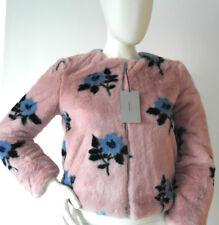 New Zara Faux Fur Floral Short Jacket Pink Size XS - 6 - 8