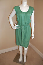 "BOSS ORANGE Hugo Boss Silk/Cotton ""Alika-D"" Belted Green Dress~Size 8 US"