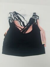 New Women's Juicy Couture 2  Pack Bra Set Pink & Black Style JC2955  Size L $38