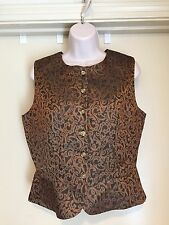 HALSTON Brown & Bronze Lined Front Button Lined Sleeveless Top Vest Sz 8 EUC