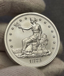 1873 CC Trade Dollar Tribute 2 oz Silver High Relief Round Intaglio Mint