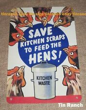 CHICKEN TIN SIGN save KITCHEN WASTE recycle HENS vintage eco farm garden coup