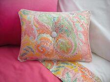 NEW Custom Ralph Lauren Jamaica Pink Paisley Accent Pillow 1 Button White Piping