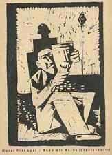 Horst STREMPEL - MANN mit MASKE - Linolschnitt  1947