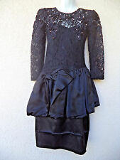 Vintage 80s PROM DRESS Cocktail Party Lace Modest Cut BIG BOW 40s Style Peplum