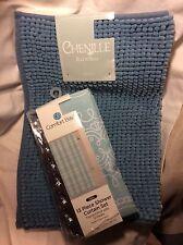 Comfort Bay New 14 Pc Light Blue Fabric Shower Curtain Hooks Mat Bath Set