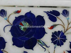 """12"""" Octagonal Marble Inlay Lapis Lazuli Side Coffee Table Top Christmas Gifts"""