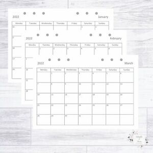 2022 A5 ORGANISER DIARY REFILL MONTHLY PLANNER + NOTES FILOFAX KIKKI COMPATIBLE
