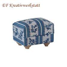 1:12 Hocker, Polstersessel blau/weiss 4,5 cm FL0498 für die Puppenstube
