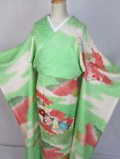 No32 Vintage Japanese Kimono Furisode Silk Embroidery Kinsai Jimon Bokasi Fabric