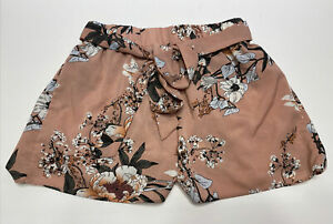 Womens SHEIN Floral Paperbag High Rise Belted Shorts Pink Mauve Size Small