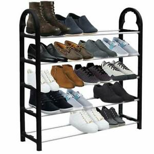 5 Tier 15 Pairs Shoe Stand Storage Organiser Rack Lightweight Compact