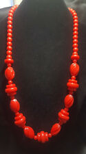 Vintage Plastic Retro Beaded Red Necklace