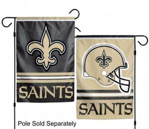 New Orleans Saints 2 Sided Double Garden Flag Outdoor Window Banner 12 x18 New.