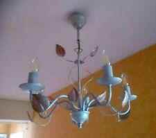 Beau luminaire Lustre feuille plafonnier métal patiné 5 branches ampoule E14 led