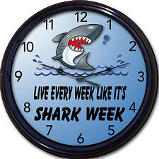 """Live Every Week Like It's Shark Week"" Clock Sharknado Ocean Sea Shore Marine"