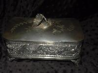 ANTIQUE TUFTS SILVERPLATE  SILVER PLATE JEWELRY CASKET BOX
