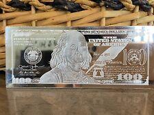 "4 Oz . 999 Fine Silver ""100 Dollar Bill"" Bar Franklin. Highly Collectible!"