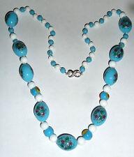 Un set di collana vintage con perline di vetro Murano blu & bianco & blu perline di vetro