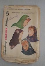 Vintage Womens Sewing Pattern Hood Hat 1947 Simplicity 7336 Unused