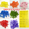 100PCS Wooden Scrabble Tiles Black Letters Numbers For Crafts Wood Alphabts NEW