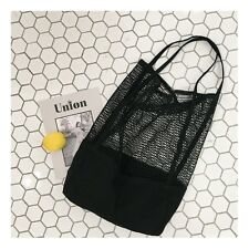 Reusable Canvas Net Mesh Tote Bag Shopping Shoulder Storage Bag Beach Bag