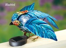 Solar Powered Lighted Blue Bird Fence Topper Garden Decoration Statue