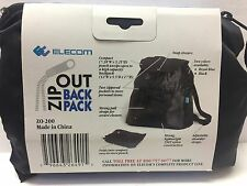 "ELECOM Zip-Out Backpack Black -COMPACTS TO 7"" X 5"" PACKAGE tote bag eco"