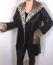Faux Fur Coat Black Leopard Print Faux Leather Hood Size 12 14 16 Luxurious NEW