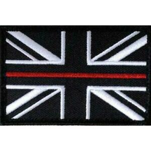 Thin Red Line Fire Fighters Union Jack Fastener Patch Fire Service Badge LARGE