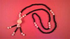 """Necklace black onyx beads rose quartz British made 30"""" long unwanted gift BNIB"""