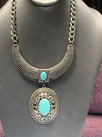 Women's Ladies Necklace  Tibetan Silver Turquoise Chunky Bohemian Pendant Bib