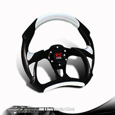 320MM TYPE-A 6-Hole Black / Silver PVC Leather Racing Steering Wheel For TOYOTA