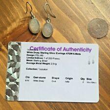 Gems tv sterling 925 silver earrings white drusy