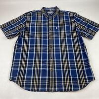 Carhartt Short Sleeve Relaxed Fit Button Down Shirt Blue Plaid Men's Size XL