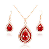 18k GP Crystal Ruby Jewelry Set Lady Red Waterdrop Charm Necklace Earring Dangle