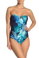 Tommy Bahama Floral Isles Bandeau One-Piece Swimsuit TSW90213P Mare Blue 14