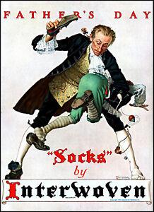 1935 Norman Rockwell art Father Spanking Son Interwoven Socks print ad L20