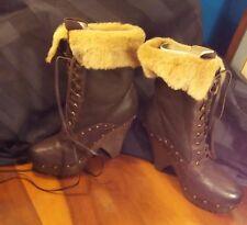 Sam Edelman ~Winnsford Wood~ Brown Leather w/ Shearling Fur Boots sz 8M NWT