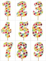 "PARTY BALLOONS Design Birthday NUMBER Cake Topper 5.5"" Tall Choose Number"
