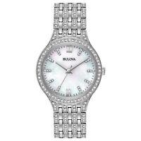 Bulova Women's Quartz Swarovski Crystal Accents Silver-Tone 32mm Watch 96L242