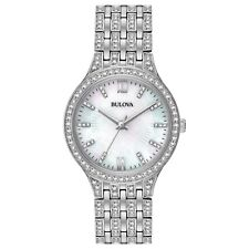 Bulova Women's Quartz Swarovski Crystal Accents Silver-Tone 32mm Watch 96L242